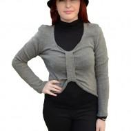 Bluza tinereasca cu aspect modern, nuanta gri, din material tricotat