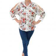 Bluza tip camasa de culoare alba cu imprimeu de flori colorate