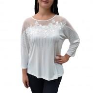 Bluza trendy cu maneca trei-sferturi si decolteu rotund, alba