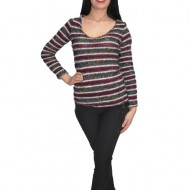 Bluza tricotata ,model multicolor ,nuanta de mov-gri