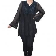 Bluza vaporoasa Alia cu insertii de broderie si paiete la decolteu,nuanta de negru