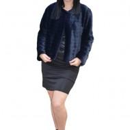 Bolero elegant Denisse din blana sintentica ,model matlasat,bleumarin