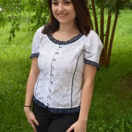 Camasa alba Karlie cu perforatii,nuanta de alb