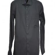 Camasa eleganta cu model de patratele in tesatura, neagra