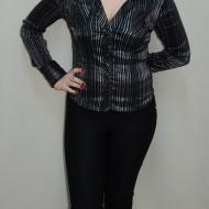 Camasa moderna, nuanta de negru-argintiu, design dungat