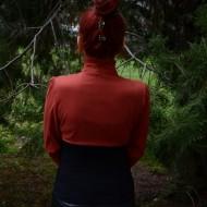 Camasa trendy de toamna, bicolora cu partea de sus caramizie