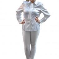 Camasi cu maneca lunga, albe, nasturi tip perla