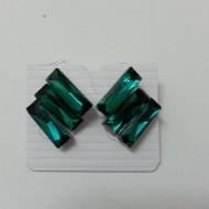 Cercei cu aspect de compozitii florale colorate si cristale verzi