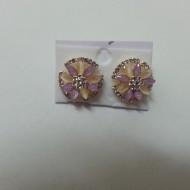 Cercei rotunzi de motiv floral, din cristale colorate, sidefate
