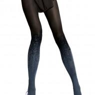 Ciorap pantalon din microfibra, culoare neagra cu model albastru