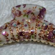 Cleste chic si rafinat cu design floral si cristale colorate aplicate