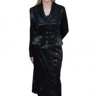Costum din doua piese, nuanta de negru, realizat din saten fin