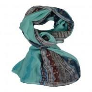 Esarfa fashion cu imprimeu de dungi pe laterale, fond turcoaz