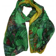 Esarfa fashion cu imprimeu de pasari mari, culoare verde inchis
