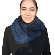 Esarfa fashion din combinatie de blanita si tricot, nuanta bleumarin