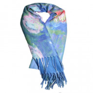 Esarfa Oanna,model painted-flower,albastru