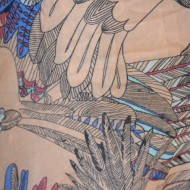 Esarfa tinereasca cu design multicolor, confectionata din vascoza