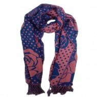 Esarfa trendy de mari dimensiuni, de culoare bleumarin-roz