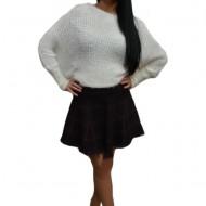 Fusta chic din material tricotat cu design de carouri negru-visiniu