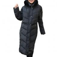 Jacheta, lunga,design lucios,nuanta de negru
