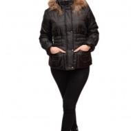 Jacheta neagra, gluga decorata cu blanita fina, buzunare