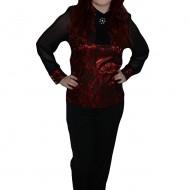Pantalon cu curelusa rosie, de culoare neagra fashion