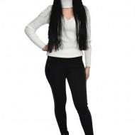 Pantalon elegant cu insertii de piele si sclipici ,nuanta neagra