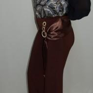Pantalon fashion, croiala moderna, cu strasuri, nuanta maro