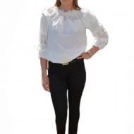 Pantalon fashion cu strasuri aplicate, nuanta de negru simplu