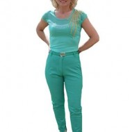 Pantalon fashion in nuanta verde deschis, model lung de vara