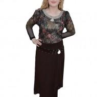 Pantalon fashion, nuanta de maro, voal fin atasat, strasuri fine