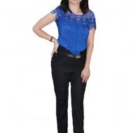 Pantalon Julia cu aplicatii de dantela,nuanta de negru