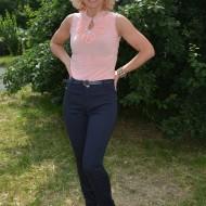 Pantalon lung de vara din material subtire, culoare bleumarin