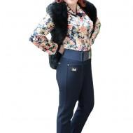Pantalon lung masura mare, de culoare bleumarin, cu dunga in fata
