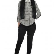 Pantalon modern cu insertii laterale pe picior,nuanta neagra