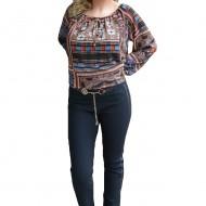 Pantalon modern de culoare bleumarin, model lung cu croi tineresc