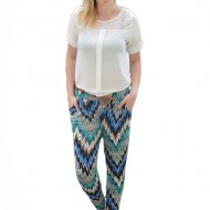 Pantalon salvar, de culoare albastra, cu imprimeu rafinat