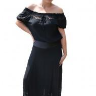 Pantaloni dama lejeri,croi evazat,model cu strasuri, nuanta negru