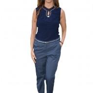 Pantaloni Eva cu buline,nuanta de bleumarin