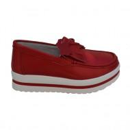 Pantof casual cu aspect mocasin, culoare rosie, din piele moale
