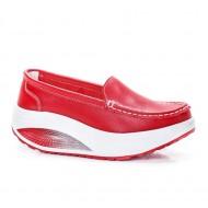 Pantof dama Avelia sport cu talpa ortopedica,nuanta de rosu