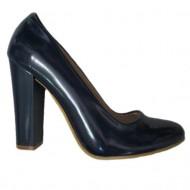 Pantof de culoare bleumarin, din piele naturala lacuita, cu toc gros