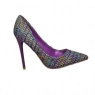 Pantof elegant, cu toc inalt, subtire, de 10,5 cm, nuante de mov