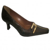 Pantof maro, clasic, cu toc de inaltime medie, cu decor auriu