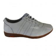 Pantof tineresc, nuanta de alb, insertii de cusaturi laterale