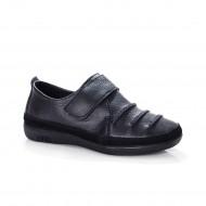 Pantof tip sport cu bareta peste picior, din piele naturala, negru