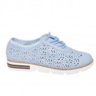 Pantofi dama cu perforatii si siret,nuanta de albastru