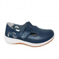 Pantofi din piele cu perforatii si talpa comoda,nuanta de bleumarin