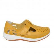 Pantofi din piele cu perforatii si talpa comoda,nuanta de galben
