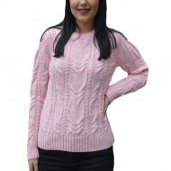 Pulover tricotat Alexa,model impletit 3D,roz